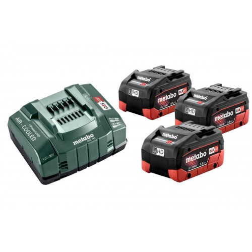 Bộ 3 Pin Xạc Metabo 18v 3 X 5.5ah LiHD Battery ASC 145 Charger